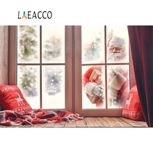 Laeacco Merry Christmas Festivals Santa Claus Winter Snow Window Pillow Wreath Party Baby Photo Background Photography Backdrops