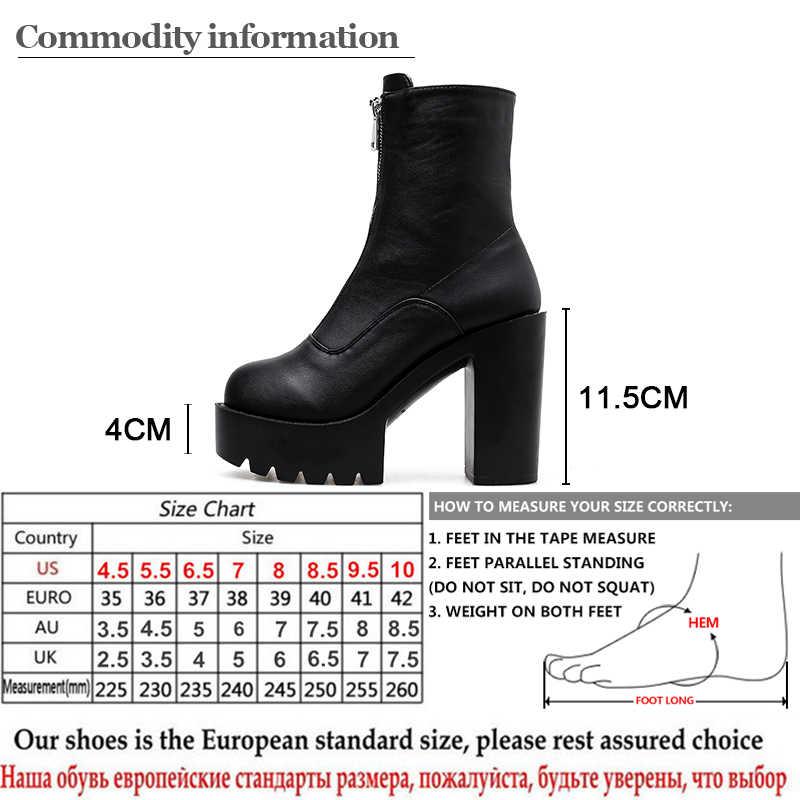 Gdgydh 2019 Sonbahar Kadın Ayakkabı Yuvarlak Ayak Platformu Kadın yarım çizmeler Kalın Topuklu Fermuar Açık Bayan kısa çizmeler Drop Shipping Haber