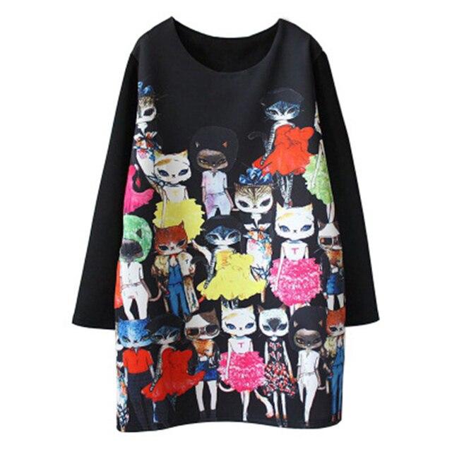 נשים חתול חמוד Cartoon הדפסת שמלה מזדמן רופף ארוך שרוול בתוספת גודל שחור ישר מסיבת אלגנטי בציר מיני שמלות