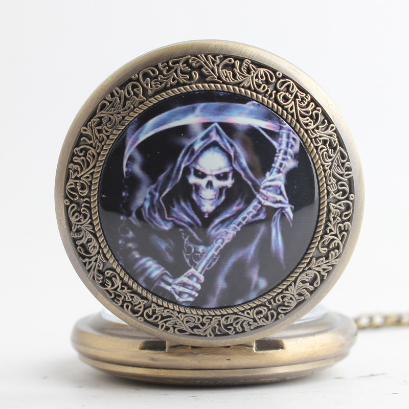 Quartz Pocket Watch Necklace Bronze Skull Pocket Watch Necklace Chain Vintage Quartz Pocket Fob Watches White Dial Men Women