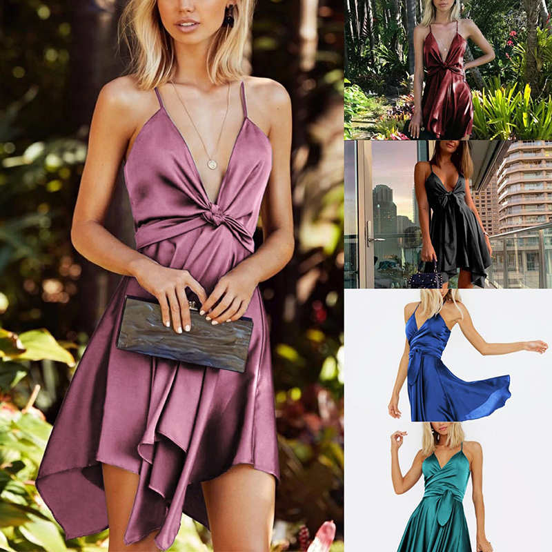 Women Summer Dress Solid Color V Neck Sleeveless Sling Irregular Strappy Dress for Summer Party Vacation Travel MUG88 image