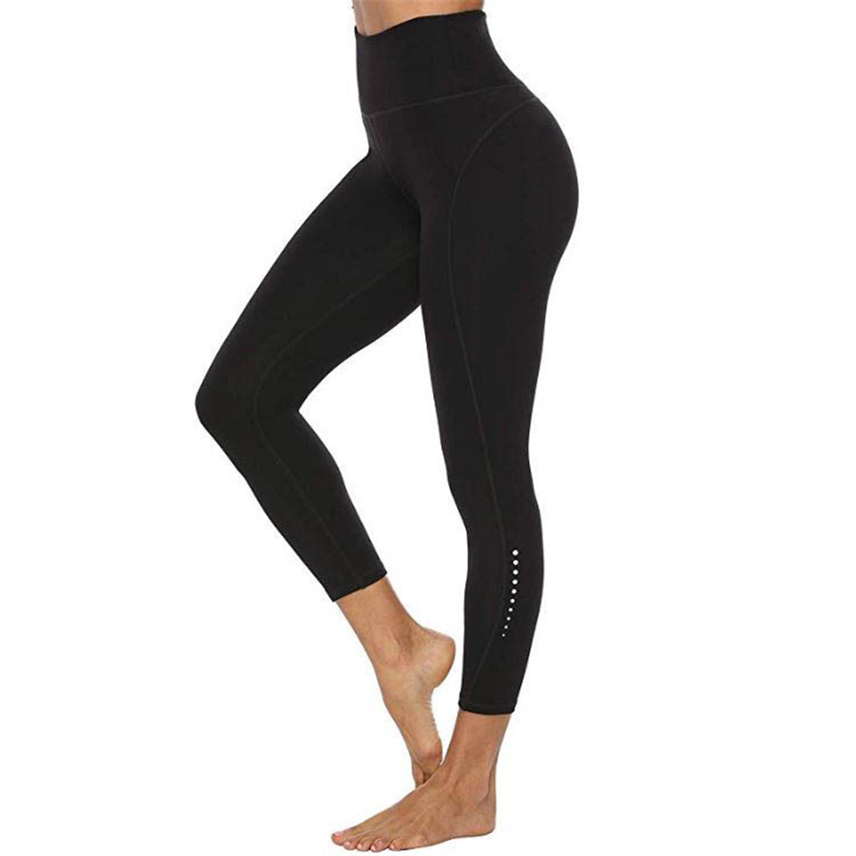 GECKATTE Black Fitness Leggings Women Solid Workout Legging High Waist Ninth Pants Elasticity Gym Wear Quick Drying Activewear