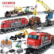 Rc cidade trem ferroviário blocos de construção estação de controle remoto trem técnica diy tijolos crianças brinquedos educativos presentes dos miúdos
