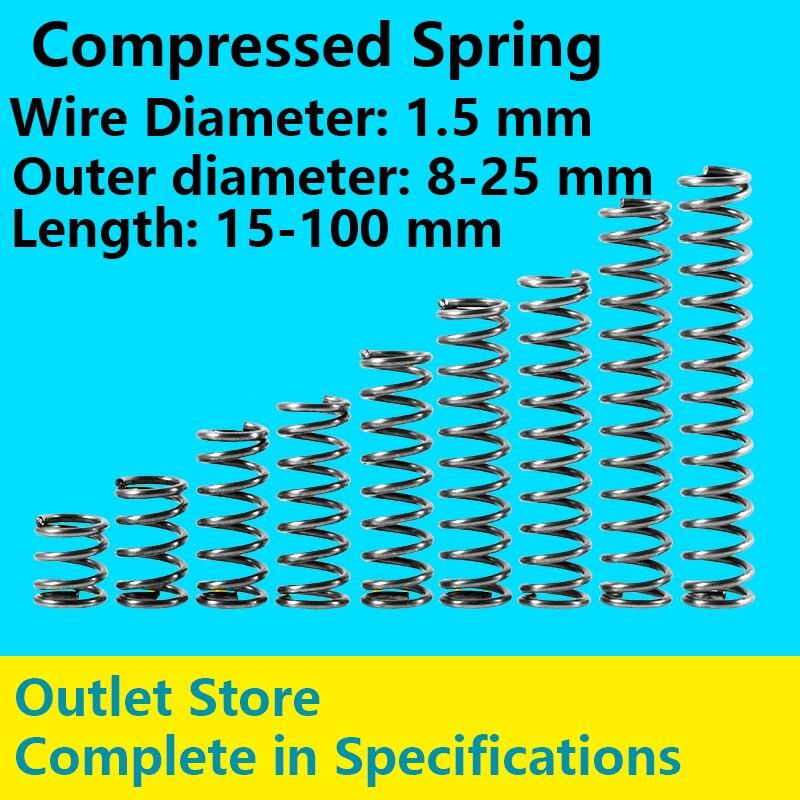 Возвратная пружина, точечные товары, телескопическая пружина диаметром 1,5 мм, внешний диаметр 8 25 мм, Длина 15 100 мм, спрессованная пружина|Пружины|   | АлиЭкспресс