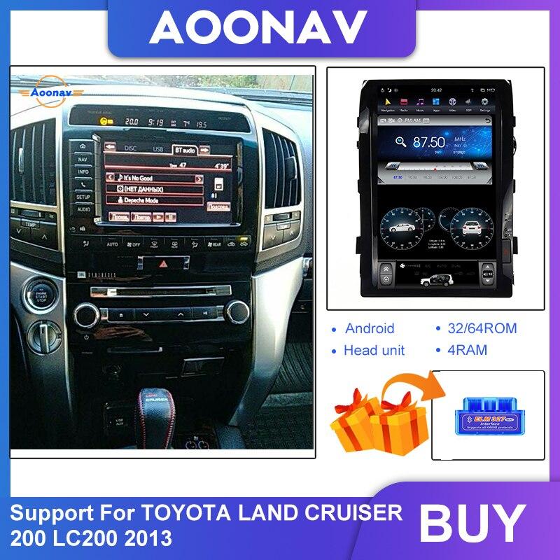Nawigacja samochodowa GPS Tesla pionowy ekran Radio GPS odtwarzacz dla TOYOTA LAND CRUISER 200 LC200 2013 nawigacja samochodowa GPS radio GPS odtwarzacz obsługuje 360 kamery