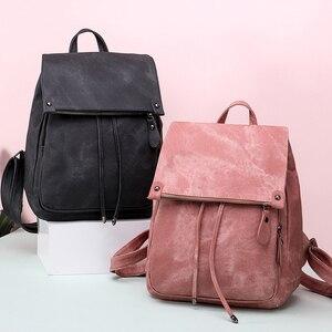 Image 2 - Da Vintage Bagpack Nữ Lưng Cao Cấp Đa Chức Năng Túi Đeo Vai Nữ Bé Gái Ba Lô Retro Schoolbag XA533H