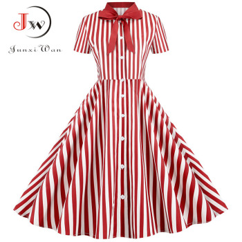 Summer Dress 2020 Women Elegant Vintage Short Sleeve Striped Print Bow Swing Party Office Pin up Dresses Casual Midi Plus Size