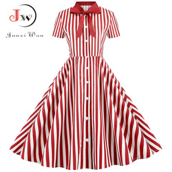 Summer Dress 2021 Women Elegant Vintage Short Sleeve Striped Print Bow Swing Party Office Pin up Dresses Casual Midi Plus Size