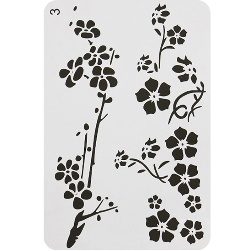 1pc Stencils Plum Blossom PET Plastic Stencils Hollow Drawing Template Painting Graffiti Painting Ruler Bullet Journal Stencils
