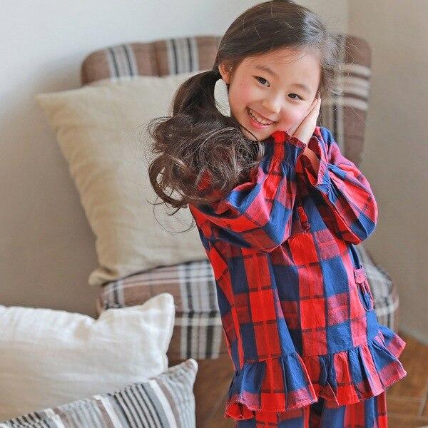 J3316 Autumn Korean-style Child Pajamas Suit Pastoral Style Princess Fashion Plaid Pajamas Suit Home Casual Pajamas