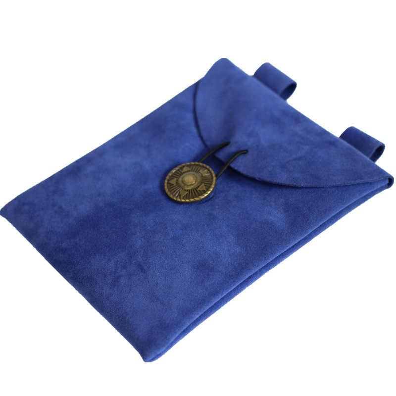 Średniowieczny zamsz etui portmonetka skórzany sznurek portfel mężczyźni kobiety Viking Larp kostium biegów Cosplay Pagan części dla dorosłych