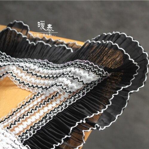 50x 11cm Lolita Black And White Double-layer Wave Lace Fabric Fashion Vestidos Wedding Dress Skirts And DIY Creative Designer Fa