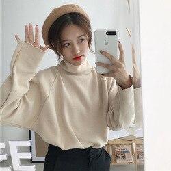 2019 Winter Hoge Kraag Trui Vrouwen Koreaanse Stijl Loose-Fit Trui Bovenkleding Wit Stand Kraag Base lange Mouwen Truien