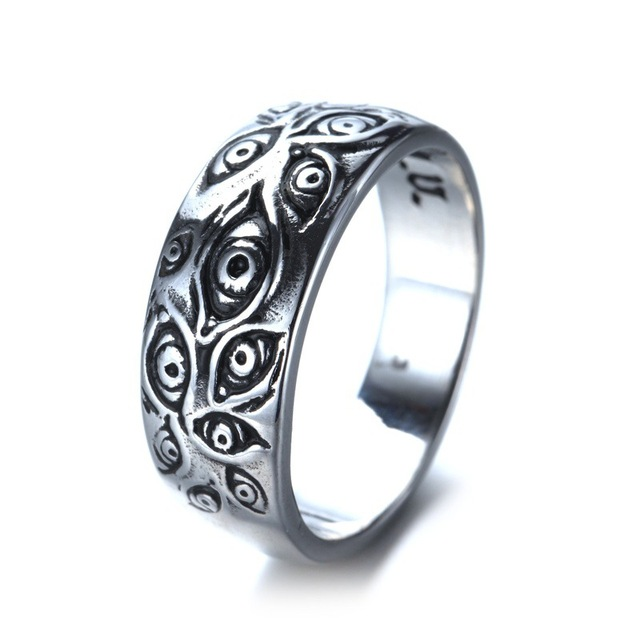 Vintage Punk Carved Eyes Mens Ring Finger Jewelry Hip Hop Rock Culture Ring Unisex Women Male Party Metal Rings Accessories 2