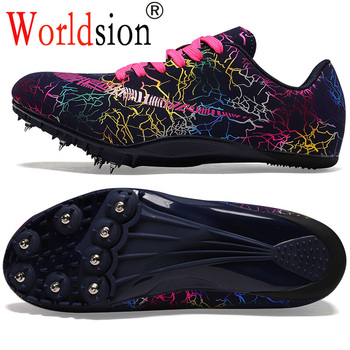 Męskie profesjonalne buty lekkoatletyczne męskie lekkie kolce buty do biegania rozmiar 35-45 wygodne buty do biegania tanie i dobre opinie Worldsion CN (pochodzenie) Cotton Fabric Pcv podłogi Masaż Średnie (b m) RUBBER Bezpłatne elastyczne Lace-up Spring2019