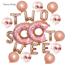 Twins Party Donut Two Sweet Letters Foil Balloons Baby Shower 2nd Happy Birthday Decor Kid Supplies