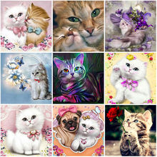Diy cat 5d diamond painting full round drill resin animal embroidery