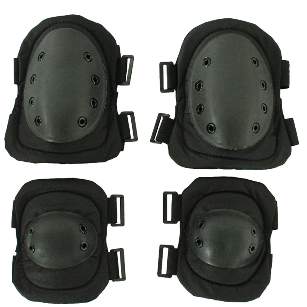 4pcs Skating Soft Shell Protector Gear Knee Elbow Hiking Anti Collision Adjustable Straps Protective Pad Set Outdoor Sports