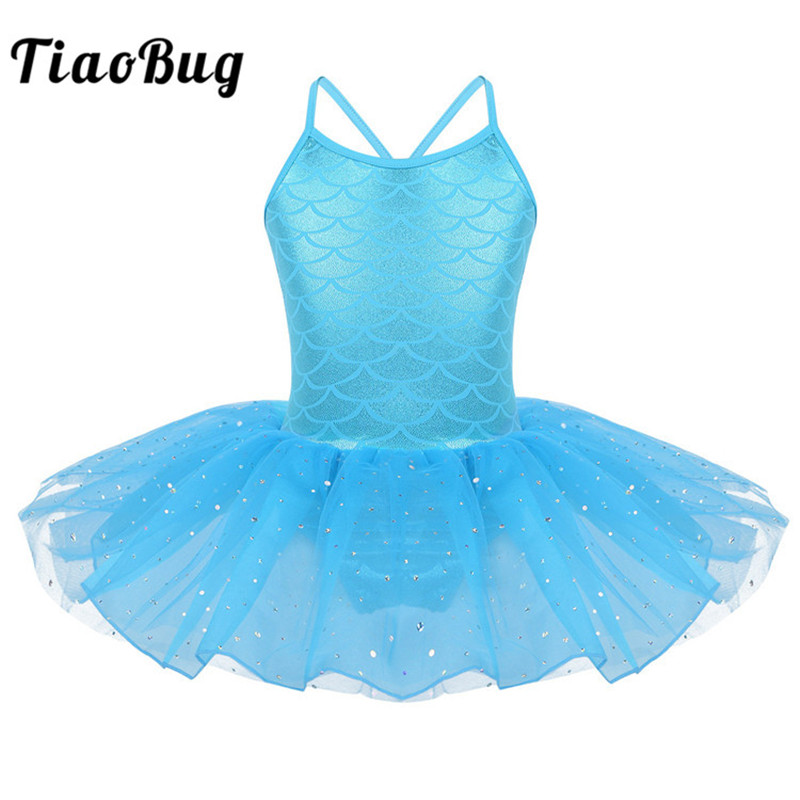 TiaoBug Kids Sparkly Scale Pattern Mermaid Costume Tutu Ballet Gymnastics Leotard Child Girls Stage Performance Mesh Dance Dress