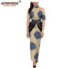 2019 spring africa dashiki dress for women AFRIPRIDE bazin richi half sleeve ankle length casual with sash A1825106