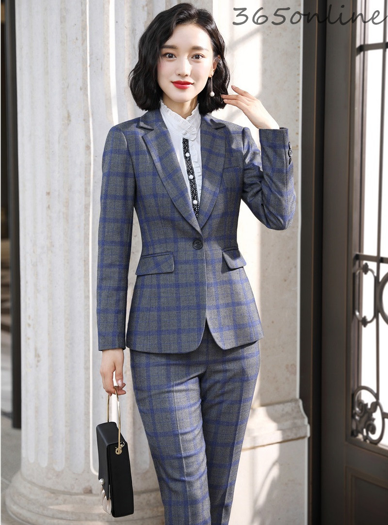 Fashion Plaid High Quality Fabric Formal Women Business Suits With Pants And Jackets Coat Autumn Winter Ladies OL Styles Blazers