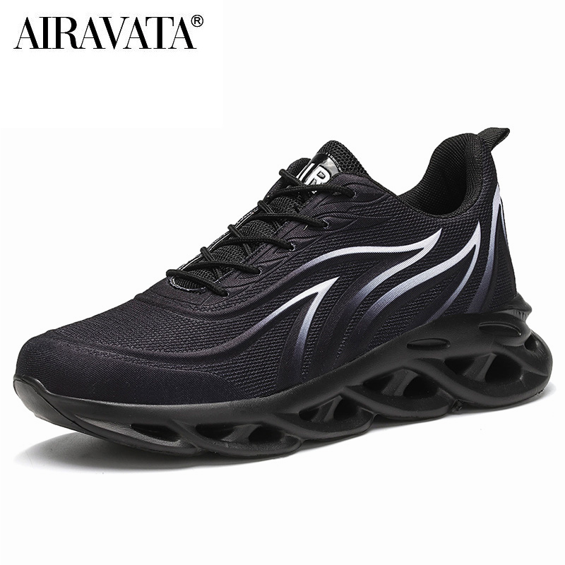 Black-Men's Flame Printed Sneakers Flying Weave Comfortable Running Sports Shoes