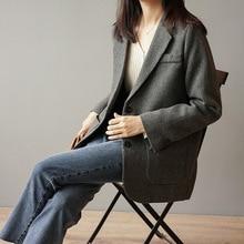 Vintage Herringbone Womens Suit Tops 2019 Autumn Classic Texture Suit Loose Coat Dark Brown Blazer Outwear