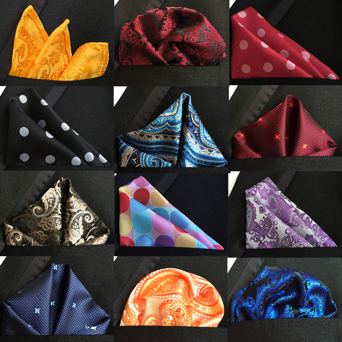 Fashion 25cm*25cm Silk Pocket Square Mens Polka Dot Paisley Hankdkerchief For Men Business Floral Chest Costume Hanky Accessory