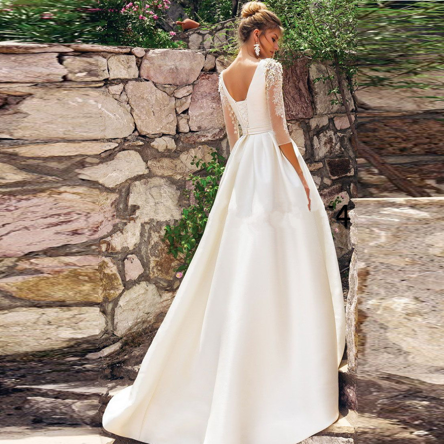 Vestido De Novia White Stain A Line Wedding Dress 2020 Open Back Bride Wedding Dress 3/4 Sleeves Beading Applique Bridal Dresses
