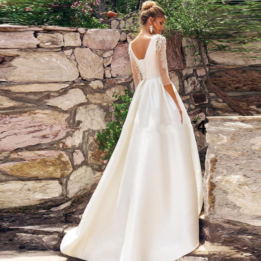 Vestido De Novia White Stain A Line Wedding Dress 2020 Open Back Bride Wedding Dress 3/4 Sleeves Beading Applique Bridal Dresses