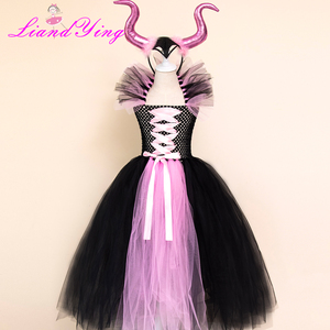 Image 4 - Maleficent Bösen Königin Mädchen Tutu Kleid mit Hörner Halloween Cosplay Hexe Kostüm für Mädchen Kinder Party Kleid Kinder Kleidung