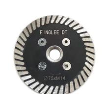 FINGLEE DT 3pcs יהלום ראה להבים 3 אינץ (75mm) עבור גרניט חיתוך גילוף כלים טורבו יהלום דיסק עם 5/8 11 חוט מקורבות