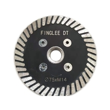 FINGLEE DT 3pcs Diamond Saw Blades 3 inch (75 mm) for Granite Cutting Carving Tools Turbo Diamond Disc with 5/8 11 Thread Flange