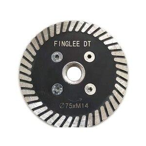 Image 1 - Finglee dt 3pcs 다이아몬드 톱 블레이드 화강암 절단 용 3 인치 (75mm) 5/8 11 스레드 플랜지가있는 터보 다이아몬드 디스크