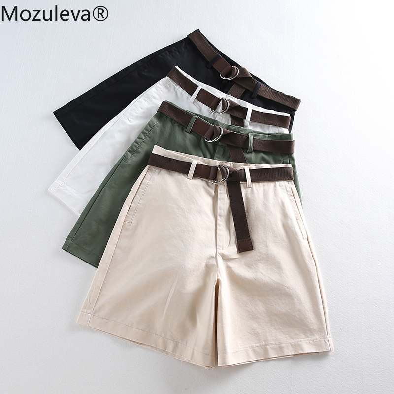 2020 Women Wide Leg Shorts Casual Female A-line Solid Shorts With Belt Feminino Thin Shorts Summer Loose High Waist 7411 50