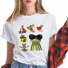 Женская футболка с принтом лягушки летняя белая оверсайз коротким