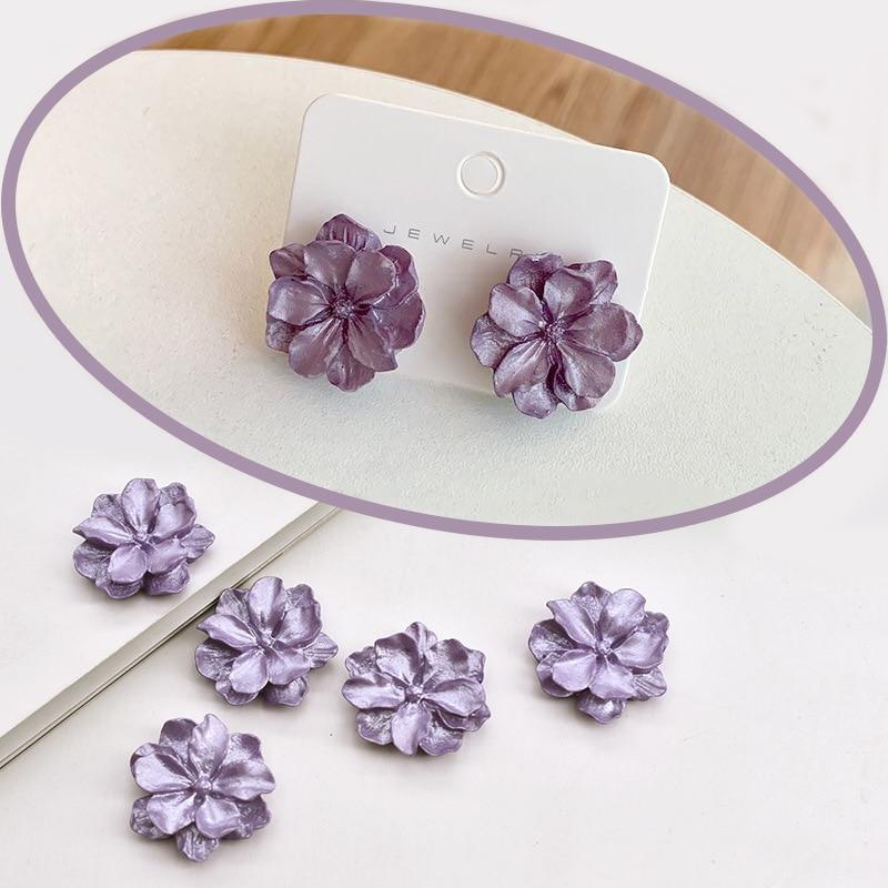 10Pcs Korea Purple Flower Flat Back Resin Cabochon DIY Jewelry Making Earrings Charms Embellishments Scrapbooking Decor Craft