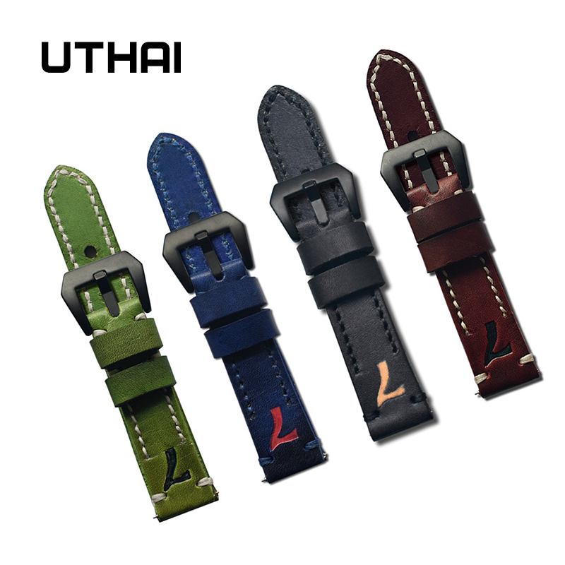 UTHAI P27 Leather Watch Strap 22mm Watch Band Genuine Leather Top Layer Tree Paste Leather High Quality Strap Hand Painted