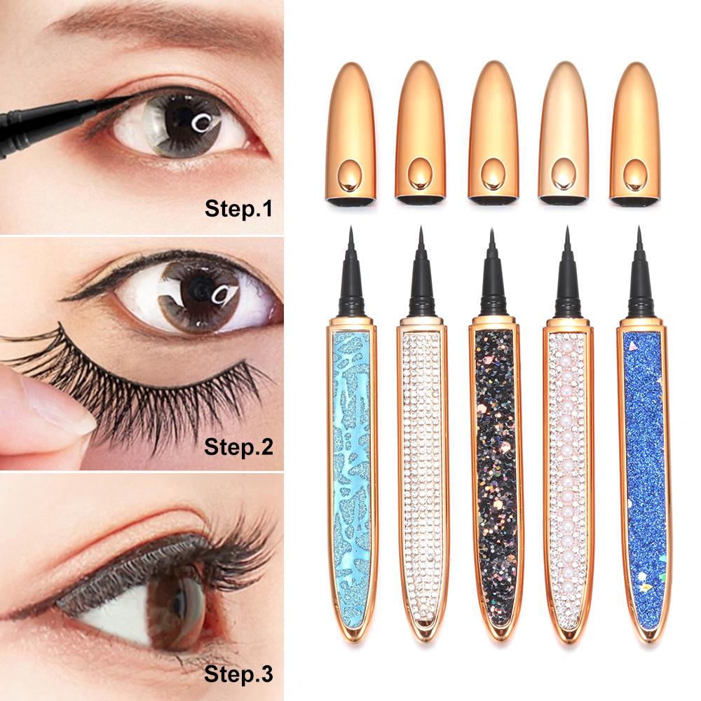 1 PC 2021 Self adhesive 2 In 1 Magic Lash Liner Glue Pen Non Magnetic No Glue Diamond Bling Glitter Liquid Eyeliner Waterproof