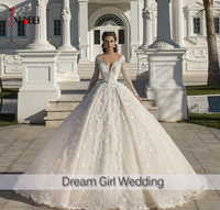 New Vestidos De Novia Long Sleeve Ball Gown Wedding Dresses 3D Flowers Long Sleeve Sexy V neck Wedding Dresses Robe De Mariee