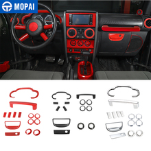 MOPAI Car Dashboard Steering Wheel Speaker Interior Decoration Cover Kit Accessories for Jeep Wrangler JK 2007 2008 2009 2010