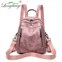 2020 New Spring Woman Backpack High Quality Oil PU Leather Brand Fashion Female Backpacks High Quality School Bag Travel Bag