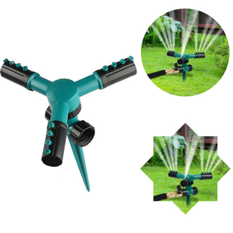 Garden Sprinklers Automatic Watering Grass Lawn 3 Nozzles 360 Degree Rotating Garden Irrigation System