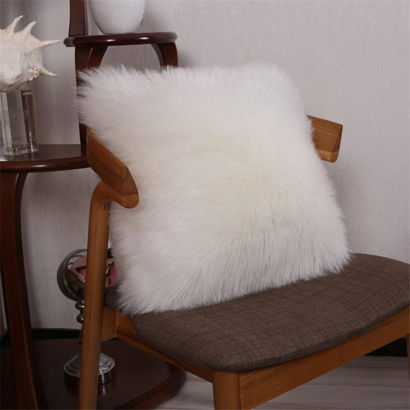 Fur Plush Throw Pillow Cases Cover Home Decor Car Furry Sofa Waist Cushion Cover