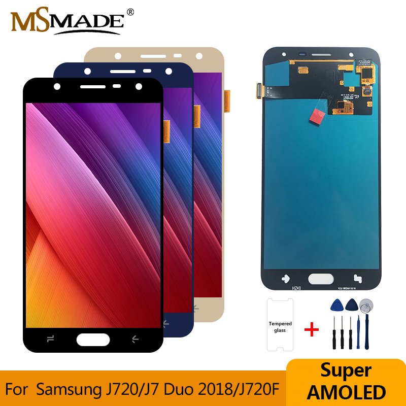 SUPER AMOLED <font><b>LCD</b></font> for SAMSUNG Galaxy J7 Duo 2018 <font><b>J720</b></font> J720F AMOLED <font><b>LCD</b></font> Display Touch Screen Digitizer Assembly Parts 5.5'' image