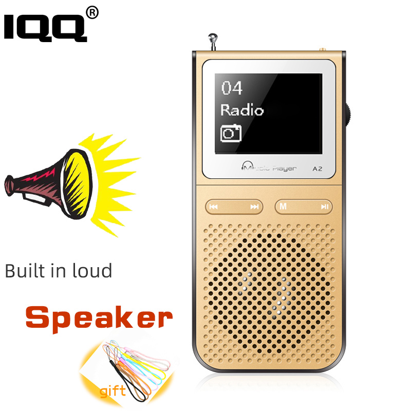 IQQ Gold Mp3 Player A2 With Lound Speak And 8G Can Playing 100Hours Built In FM Radio Support Expand  Up To 128G Portable Player