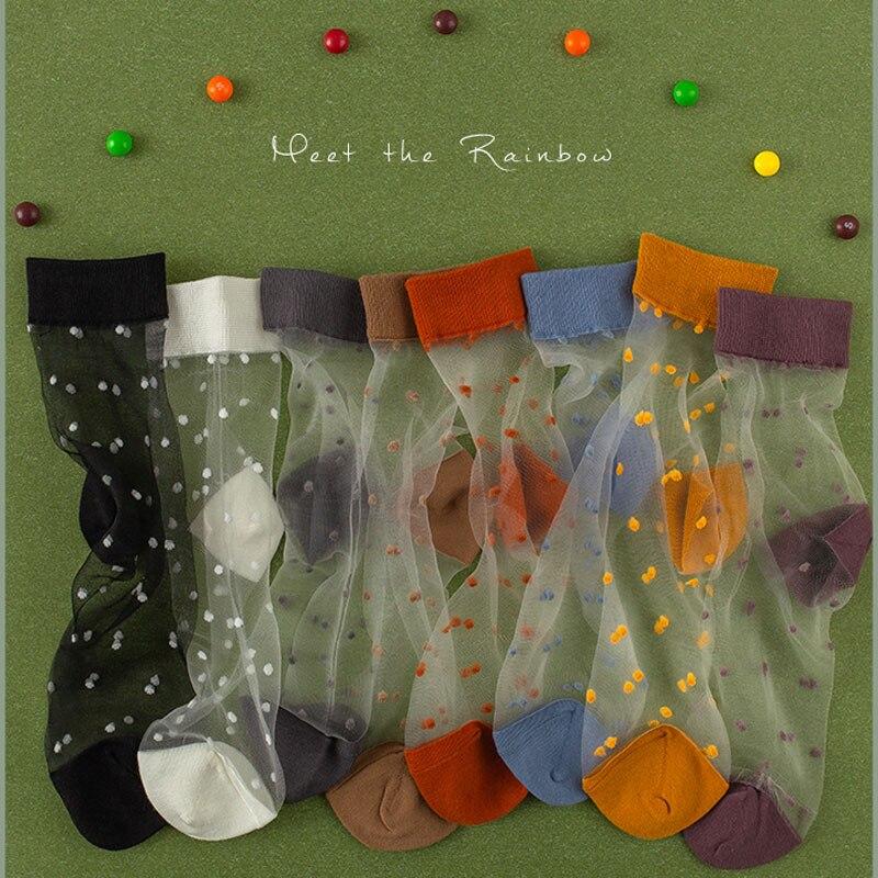 SP&CITY 8 Pairs Vintage Dot Transparent Women Socks Set Cute Hollow Out Thin Short Harajuku Socks Casual  Colored Cool Art Sock
