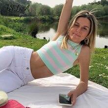 FSDA 2021 Stripe Knit Crop Top Women Y2K Summer Sleeveless Green Casual Beach Off Shoulder Vintage Fashion Sexy Tank Tops