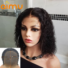 Short Curly Bob Wig 4x4 Lace Closure Human Hair Wigs For Black Women Glueless Wig 150 Density Pre Plucked Remy Hair Brazilian(China)