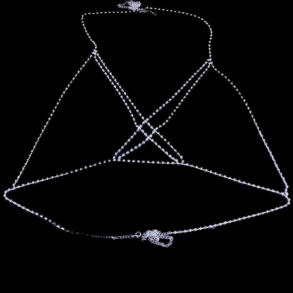 Stonefans Sexy Bikini Body Chain Crystal Underwear Jewelry for Women Cross Rhinestone Body Lingerie Bra Jewelry Valentine Gift 2